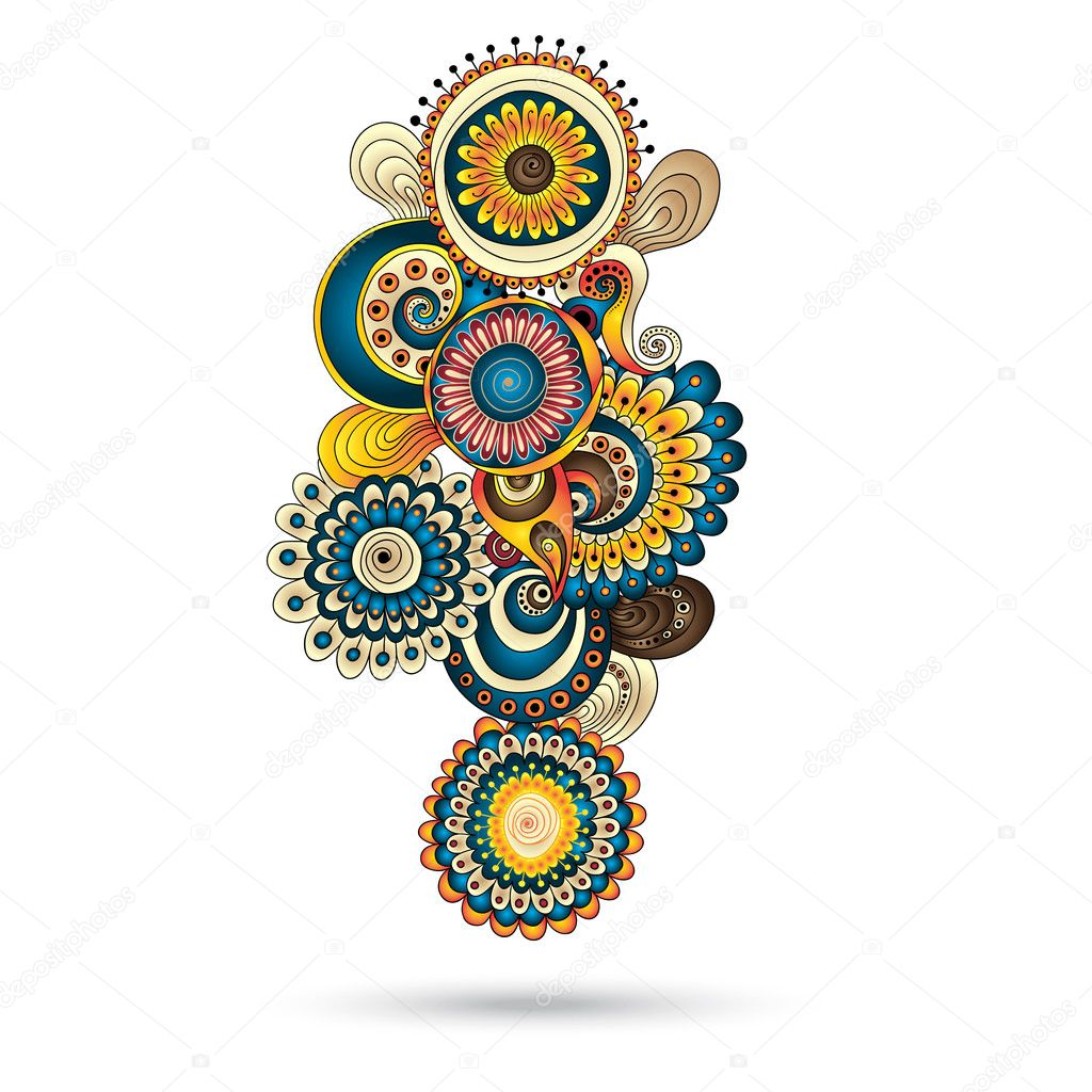Henna Paisley Mehndi Doodles Abstract Floral Vector Illustration Design Element. Colored Version.