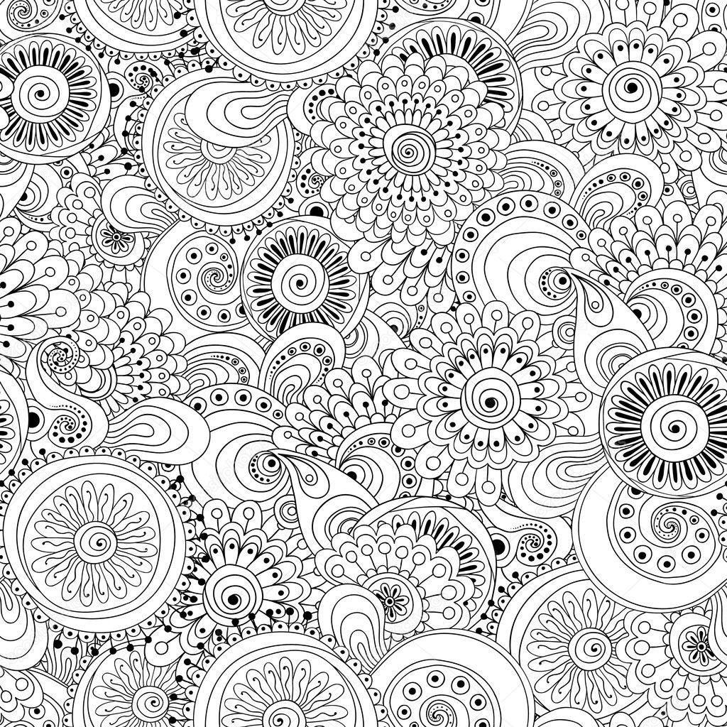 Seamless flower black and white retro background