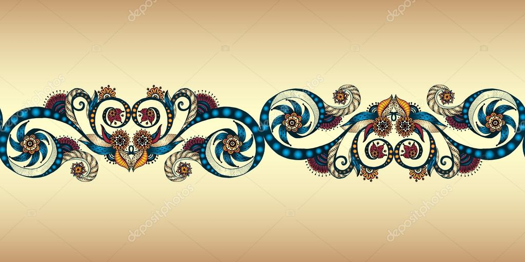 Colorful seamless ribbon on the gold background.