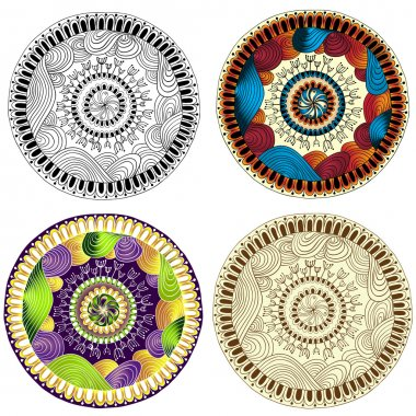 Set of ethnic design elements. Card design template. Can be used for invitation, menu, for pillow design, banners, signs.