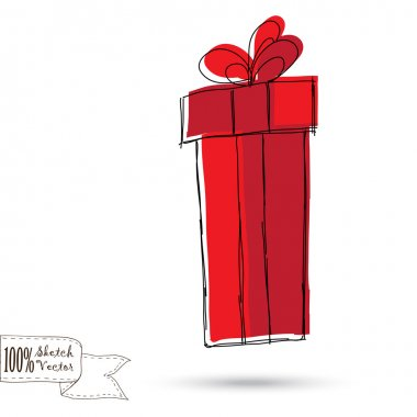 Sketch gift box with bow