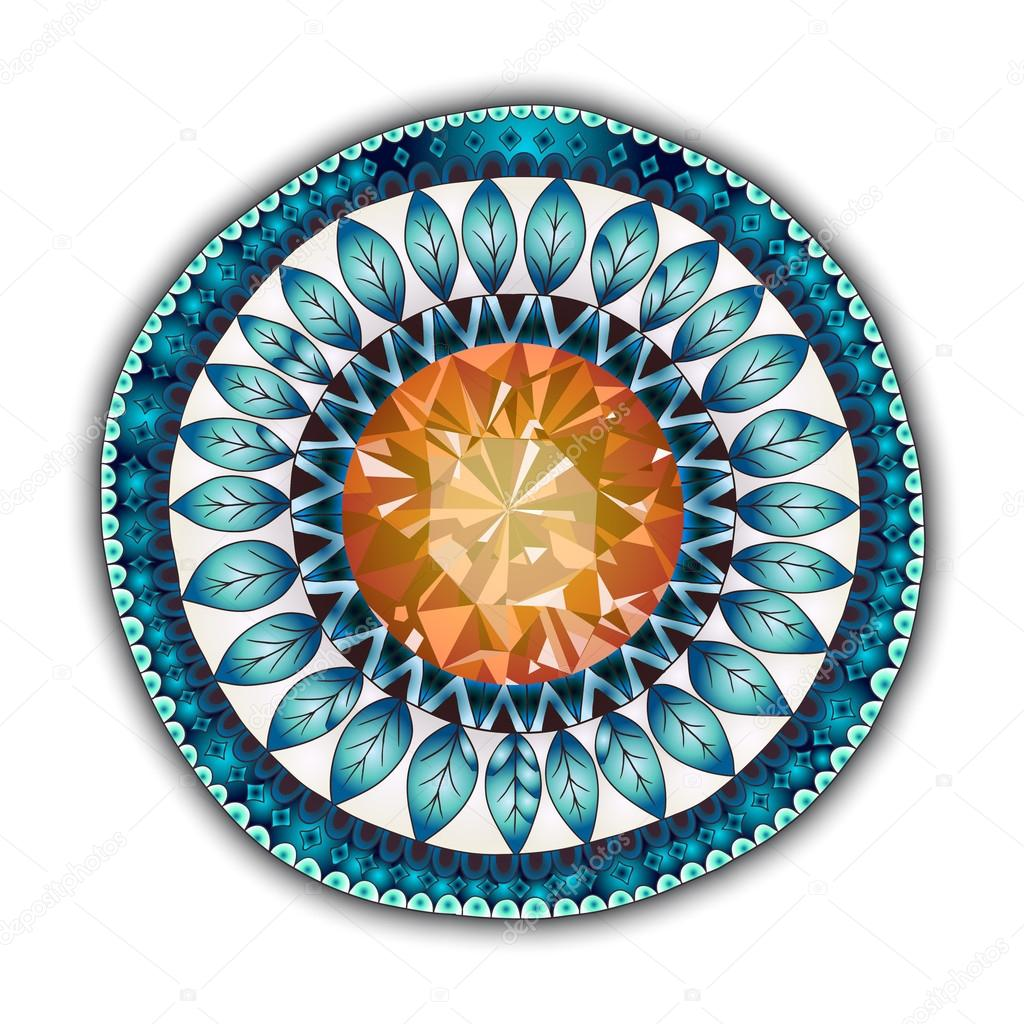 Mandala. Round Ornament Pattern. Ornamental Flowers. Vector set with abstract floral elements in indian style