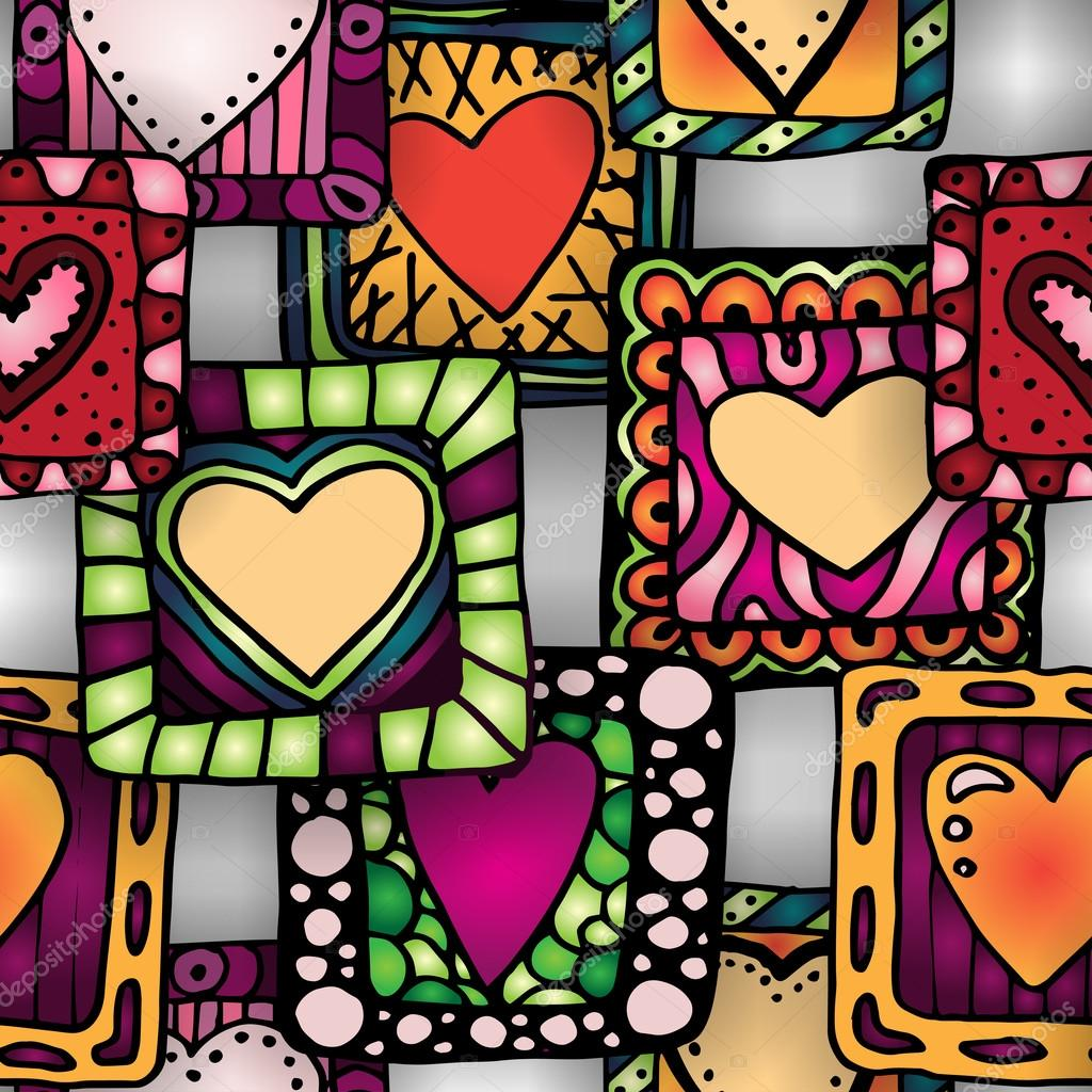 Seamless pattern of original hearts in frames.