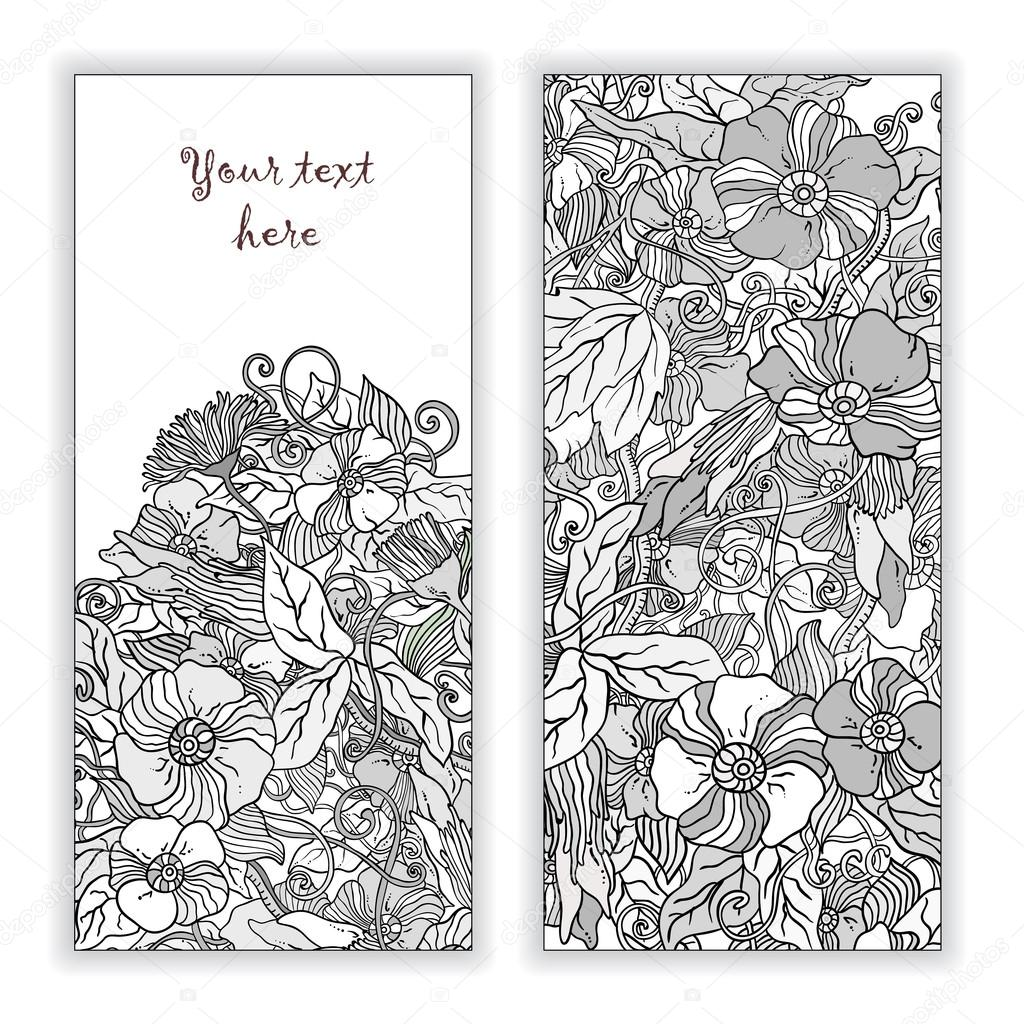 Unique abstract  hand drawn pattern card set with art flowers and leaves. Perfect for invitations or announcements.