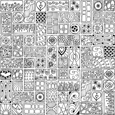 Seamless pattern with doodle flowers and hearts.