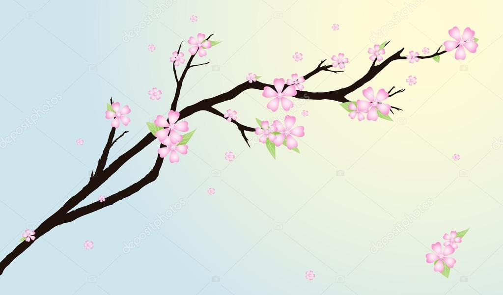 Background with stylized cherry blossom and bird.