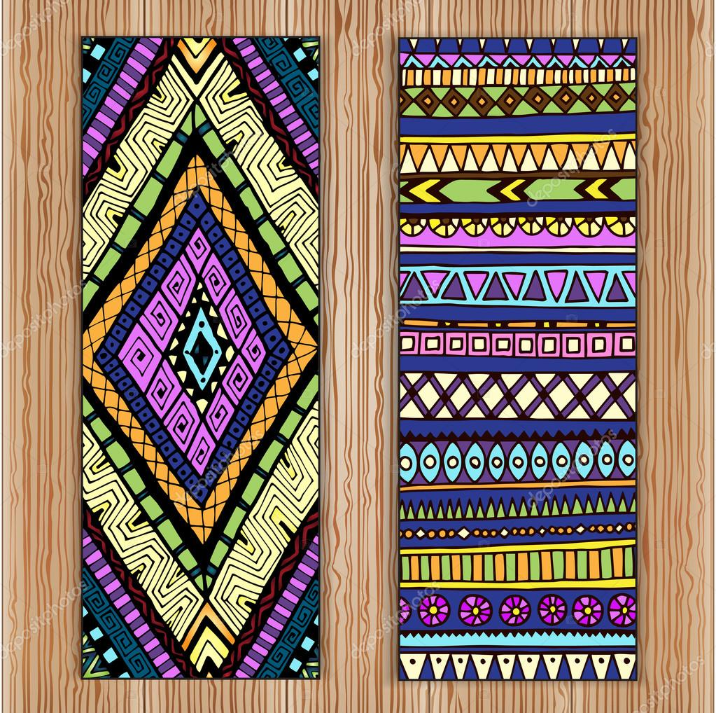 Unique Abstract Ethnic Pattern Card Set On Wood Background.Tribal texture. Series of image Template frame design for card.