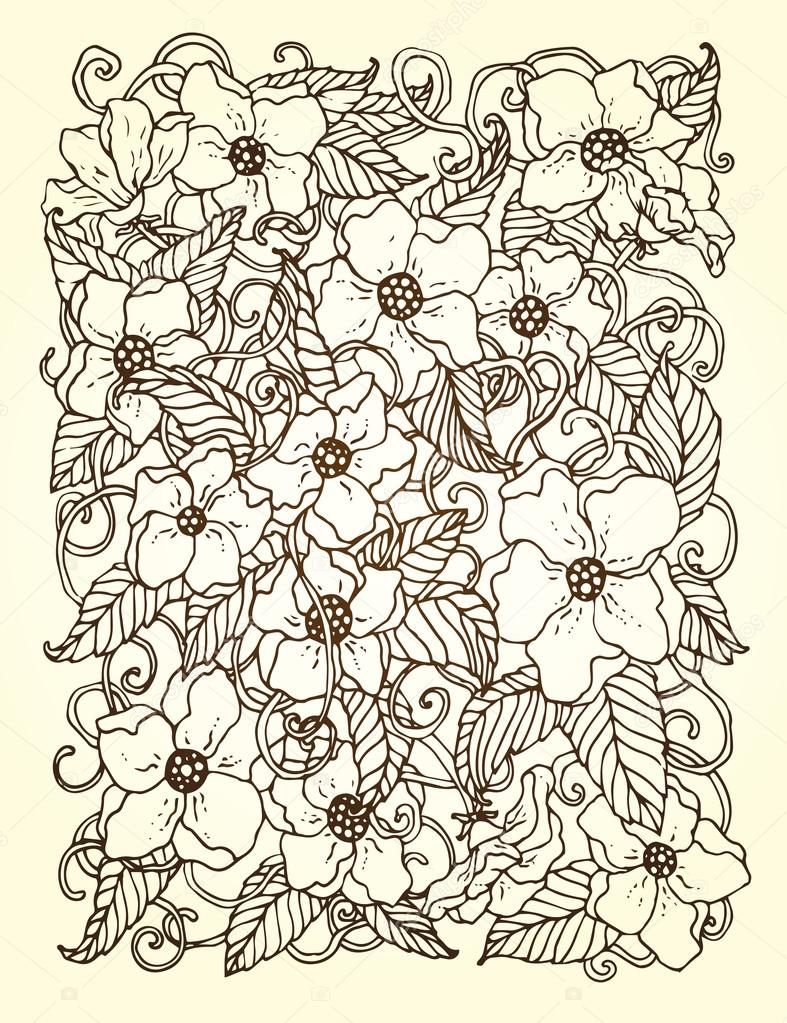 Original hand drawn pattern card with flowers.