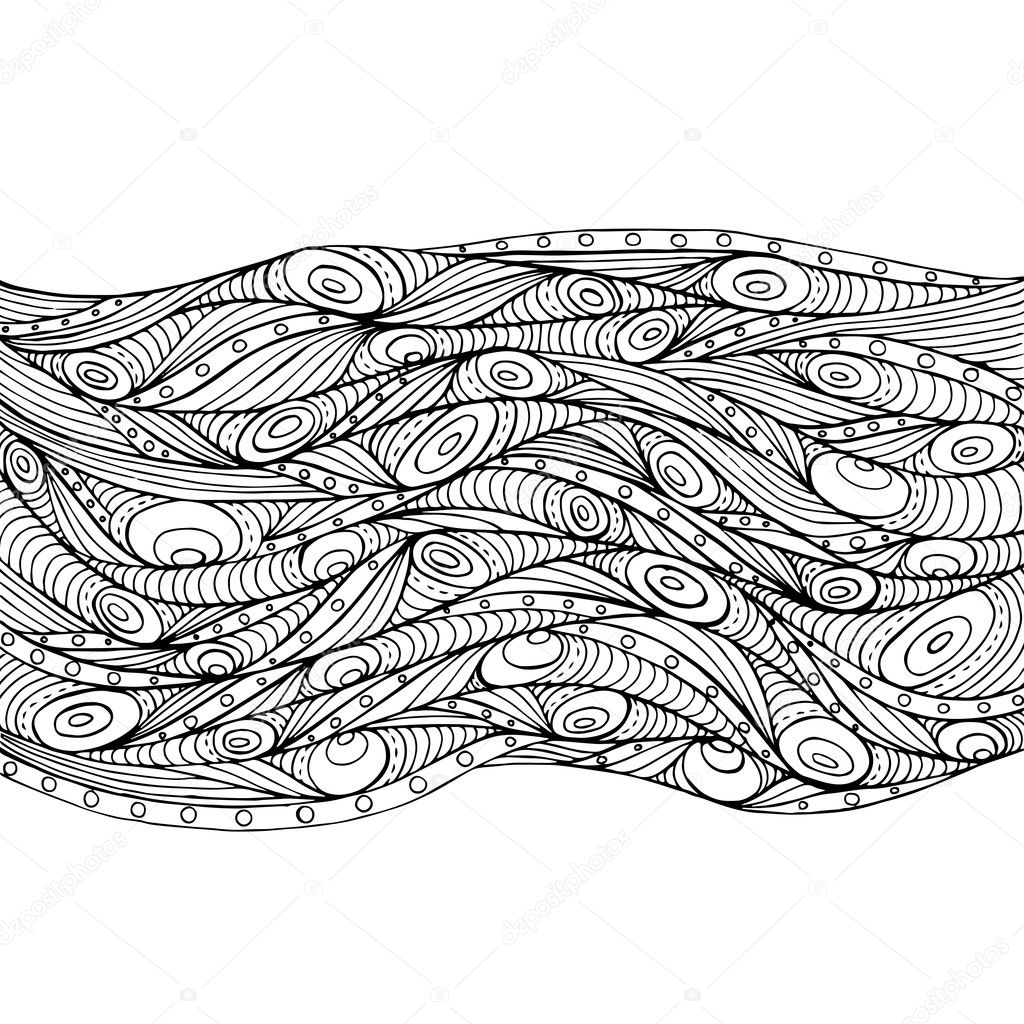 Abstract doodle decorative waves background.