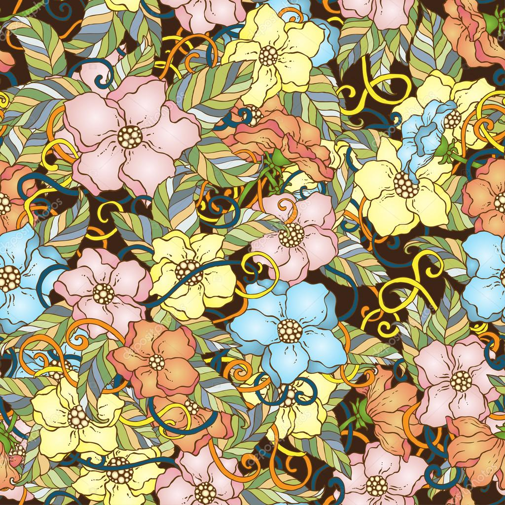Seamless pattern with cherry blossom flowers.