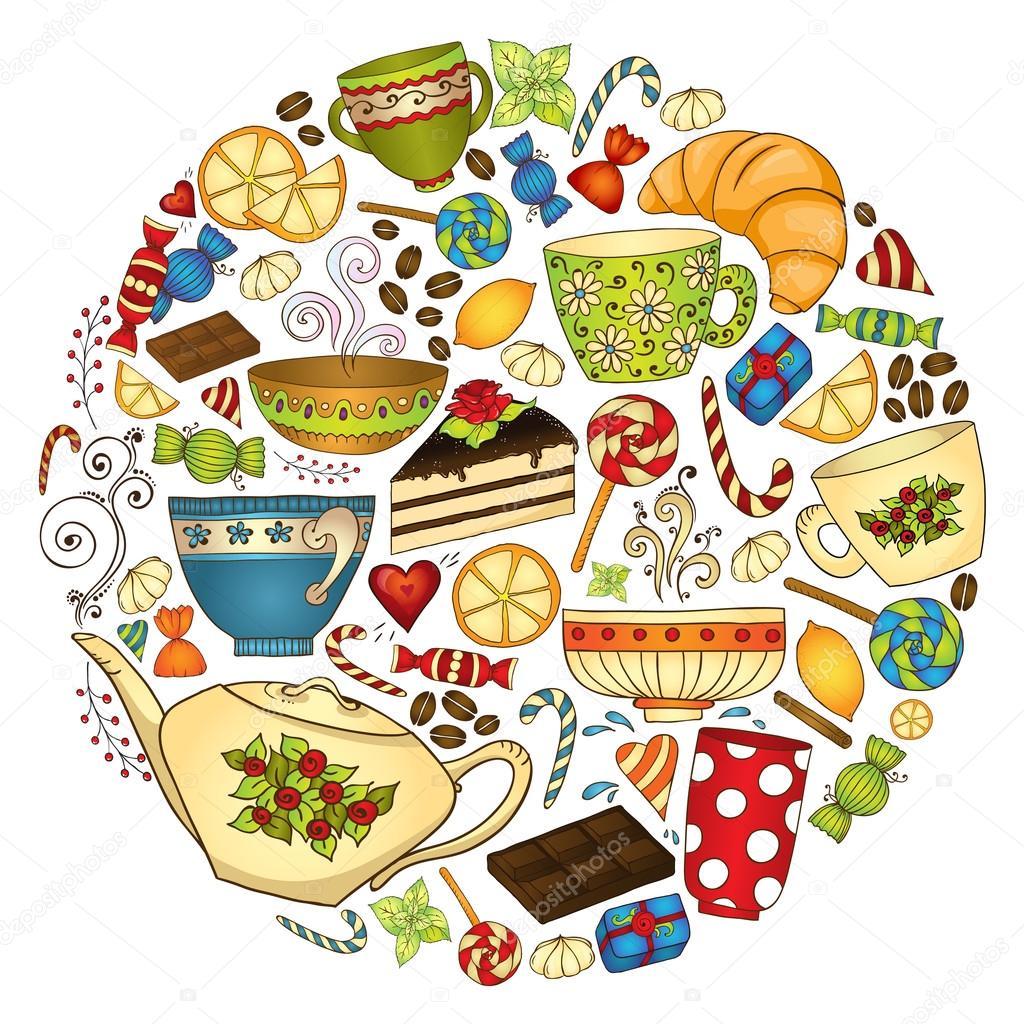 Tee, Kaffee und Süßigkeiten doodle Muster-Vorlage — Stockvektor ...