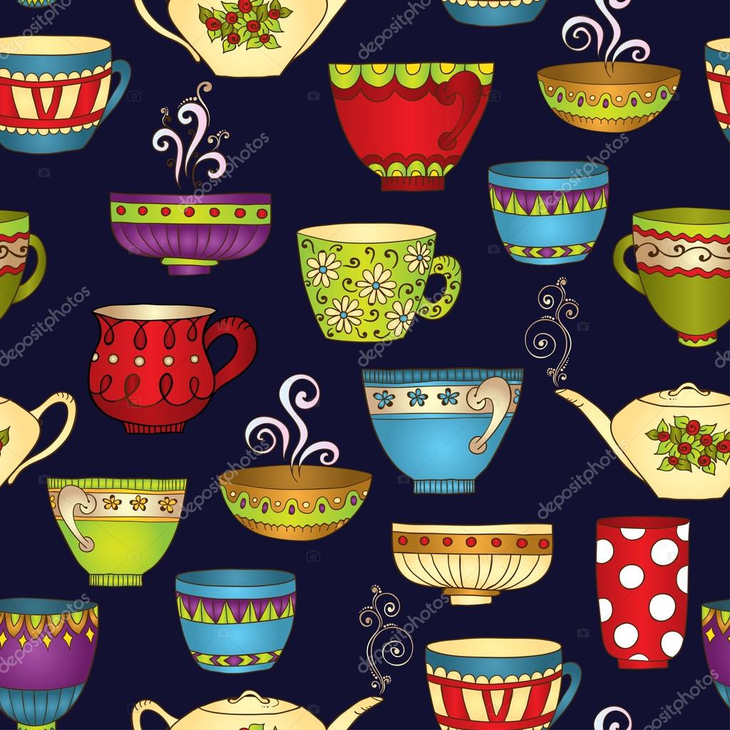 Tea, coffee and sweets doodle seamless pattern.