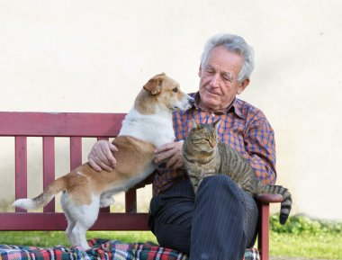 Pensioner with his pets