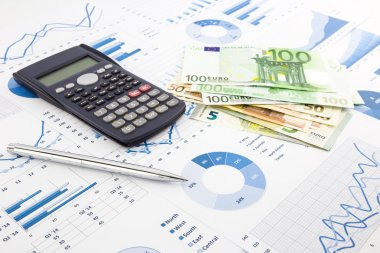 Euro currency on graphs, financial planning and expense report b