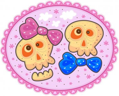 Two enamored skulls with bows on a pink background with flowers and white clouds.