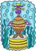 Fényképek színes halak, játszik egy labdát a dekoratív háttér