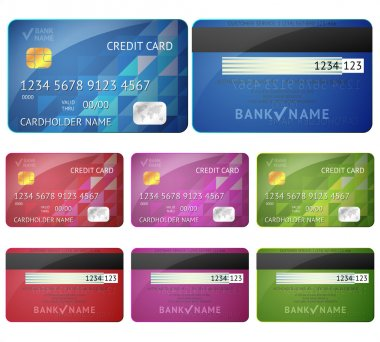 Set of realistic credit card two sides isolated on white
