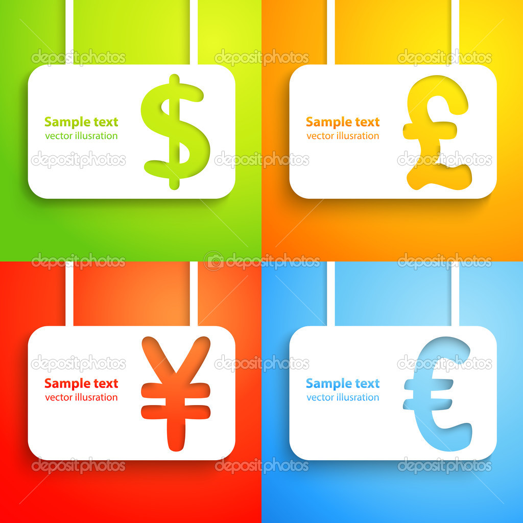 Paper currency signs dollar euro yen and pound stock vector paper currency signs dollar euro yen and pound vector money symbol green orange red and blue color background with place for text buycottarizona Gallery