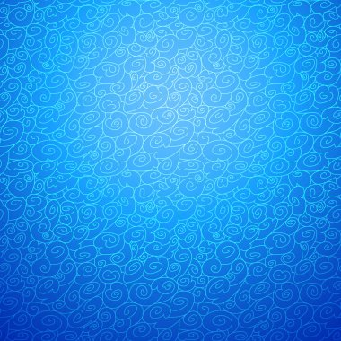 Wave seamless ornamental background in blue color option