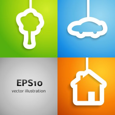 House, car and tree applique background set. Vector illustration.