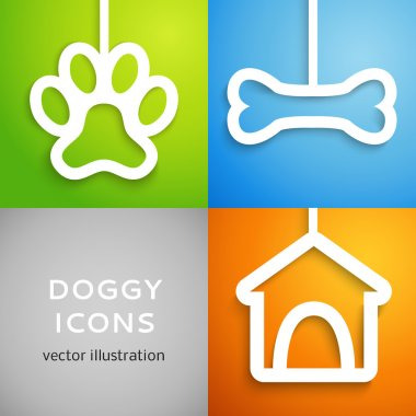 Set of applique doggy icons. Vector illustration