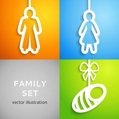 Set of applique family icons. Vector illustration