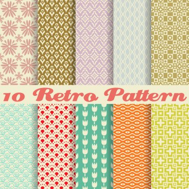 10 Retro different vector seamless patterns (tiling). Endless texture can be used for wallpaper, pattern fills, web page background,surface textures. Set of monochrome geometric ornaments. stock vector