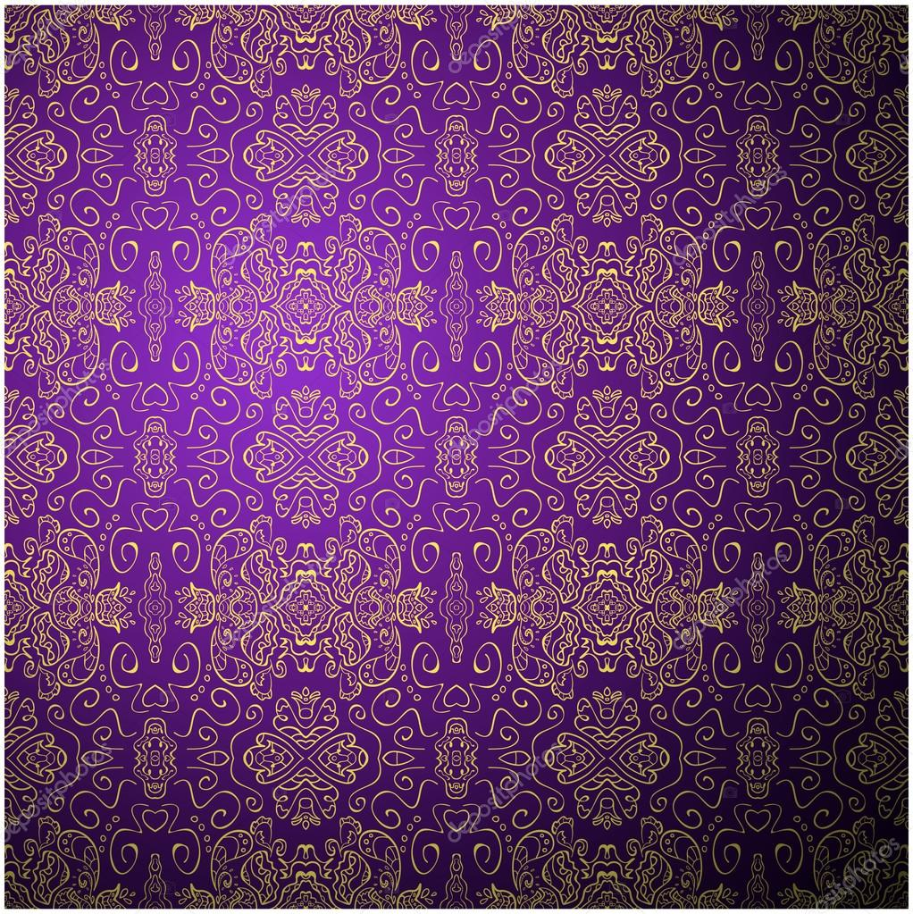Antique Pattern Background Purple Seamless Wallpaper Stock Vector