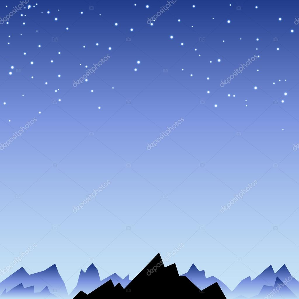 Night sky with star and mountain spike