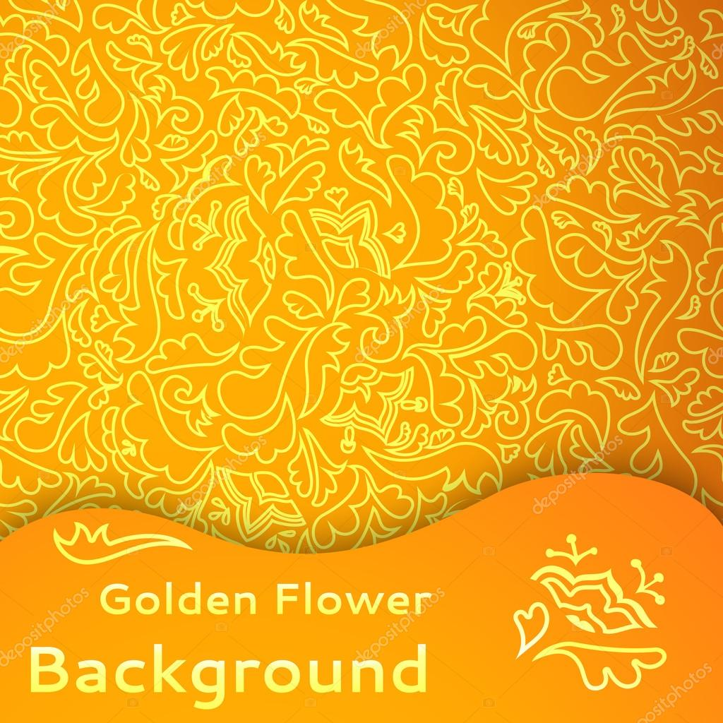 Golden flower seamless background.