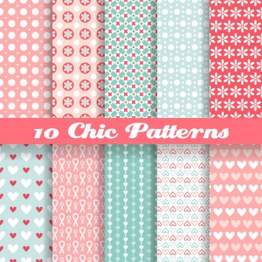 10 Chic different vector seamless patterns (tiling). Pink and blue color. Endless texture can be used for printing onto fabric and paper or clip art vector