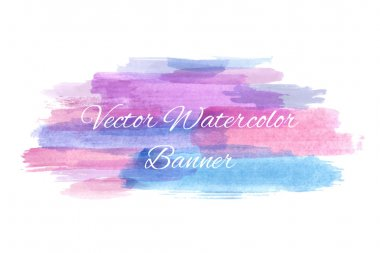 Abstract artistic watercolor banner. Vector illustration for your grunge design. Colorful hand draw stains. Lilac, pink and blue color. clip art vector