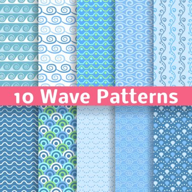 Wave different seamless patterns (tiling). Vector