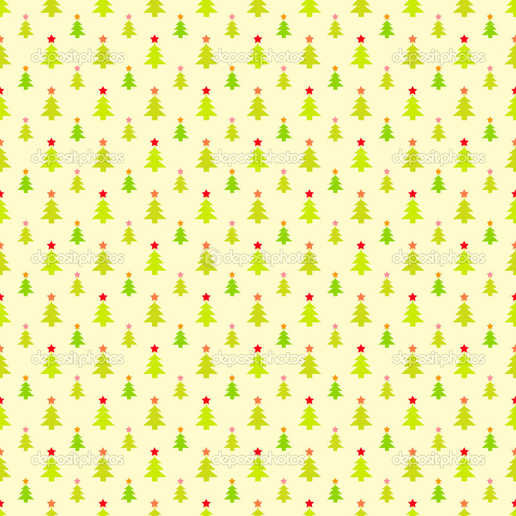 Abstract Christmas Tree Pattern Wallpaper Vector Illustration For Funny Holiday Noel Design Green Yellow And Red Colors Seamless By Kannaa