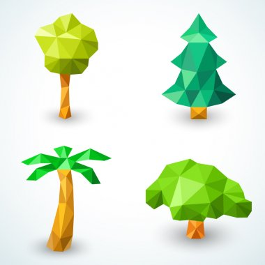 Set of polygonal origami tree icons. Vector illustration
