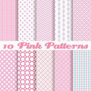 10 Pink different vector seamless patterns (with square swatches). Endless texture can be used for sweet romantic wallpaper, pattern fills, clip art vector