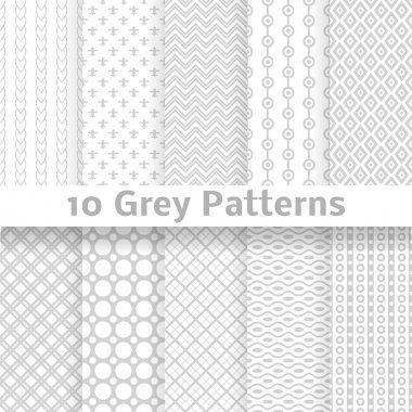 10 Grey vector seamless patterns (tiling). Endless texture can be used for wallpaper, pattern fills, web page background, surface textures. stock vector
