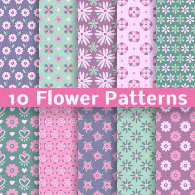 Romantic flower different vector seamless patterns (tiling)