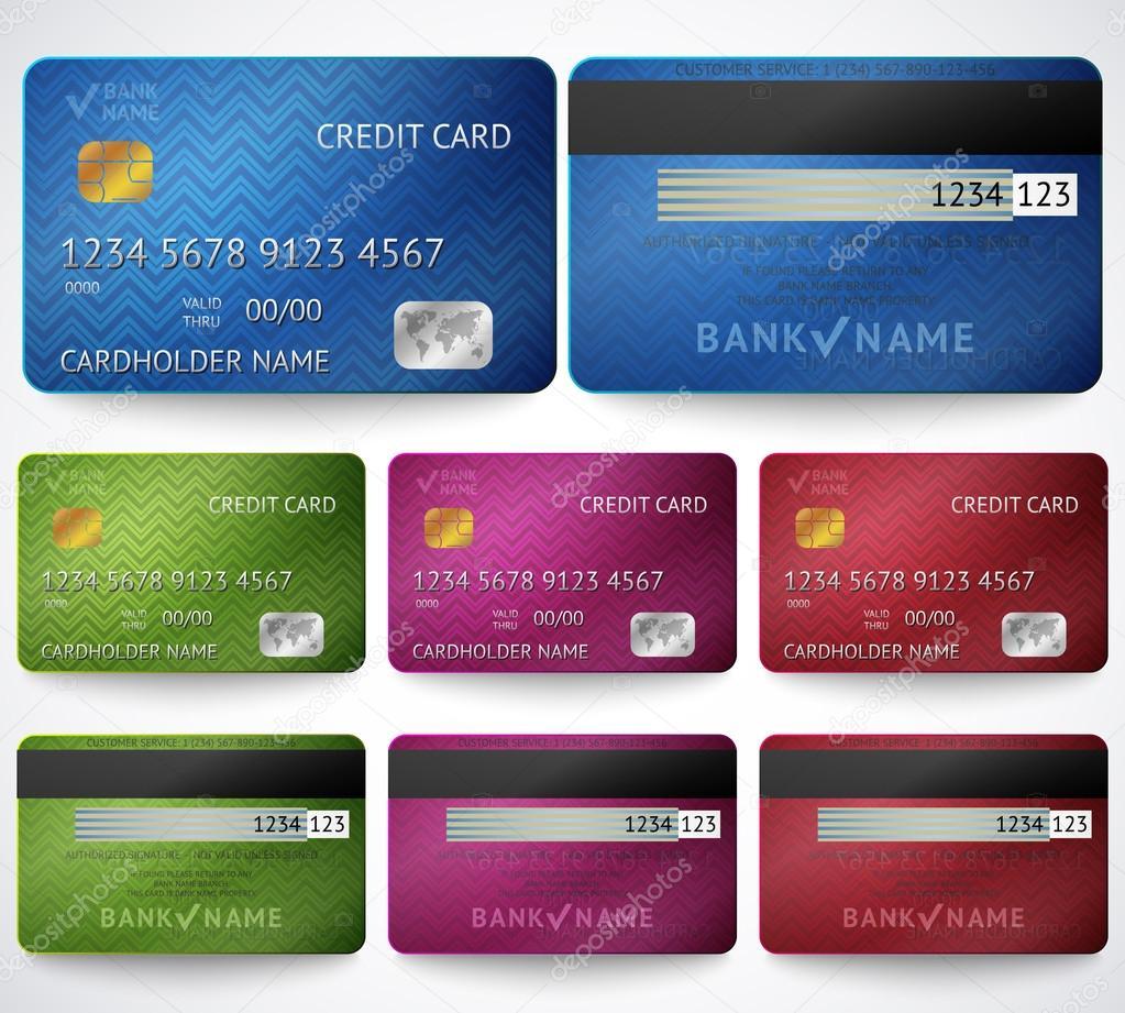 Satz von realistischen Kreditkarte beidseitig isoliert ...