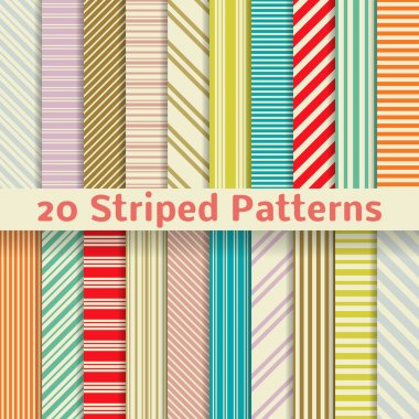 20 Retro striped vector seamless patterns (tiling). Textures for wallpaper, fills, web page background, surface. Set of monochrome geometric clip art vector