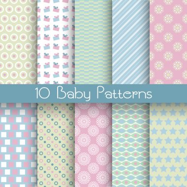 Baby pastel different vector seamless patterns (tiling)
