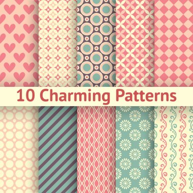 10 Charming different vector seamless patterns (tiling). Sweet pink, blue and lemon cream colors. Endless texture can be used for printing onto fabric and paper. Heart, flower and dot shape. clip art vector