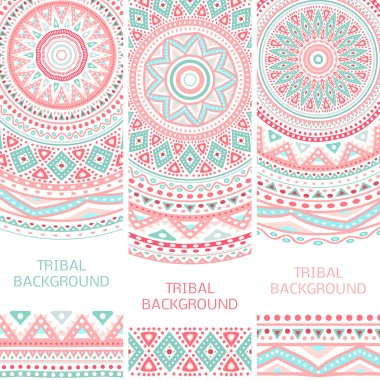 Tribal ethnic vintage banners. Vector illustration for your cute feminine romantic design. Aztec sign on white background. Pink and blue colors. Border and frame. Oriental rug napkin. Stripe pattern. stock vector