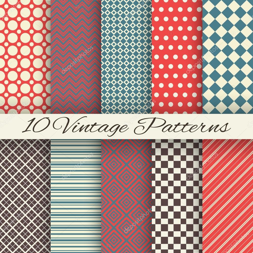Vintage different vector seamless patterns (tiling)