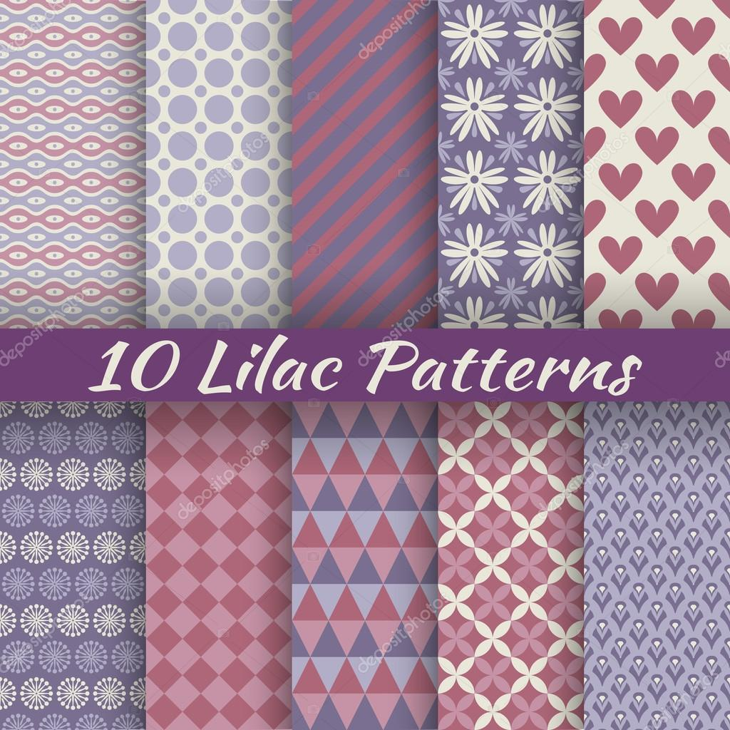 Lilac different vector seamless patterns (square swatches)