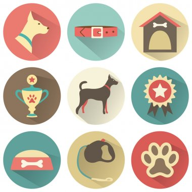 Retro dog icons set. Vector illustration for web