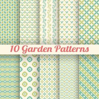 10 Green garden vector seamless patterns. Abstract texture
