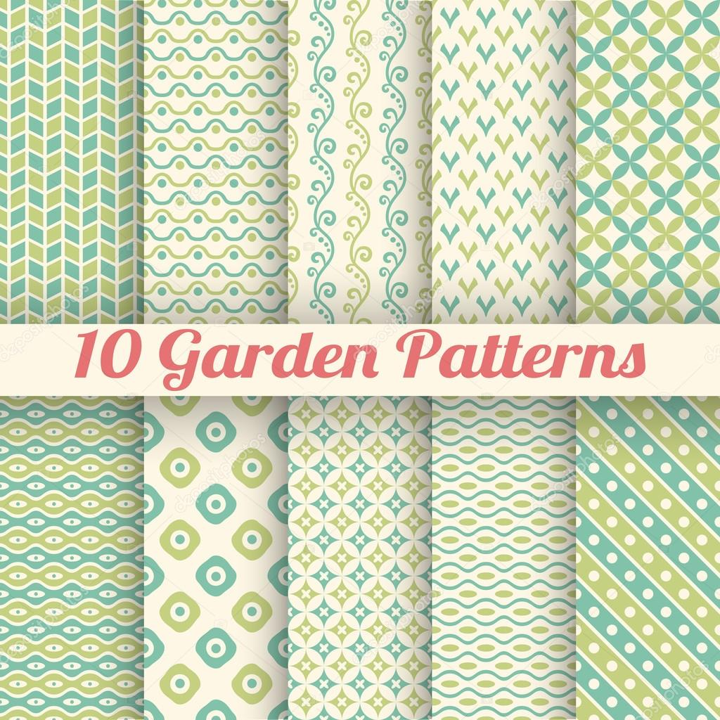 10 Green garden vector seamless patterns. Abstract texture