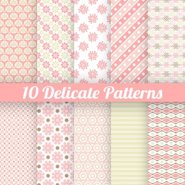 10 Delicate lovely vector seamless patterns