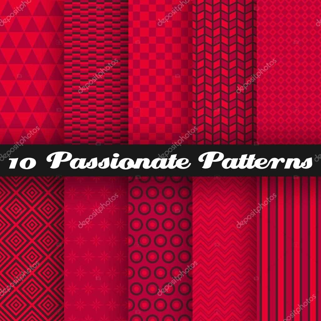 Passionate vector seamless patterns. Hot red color.